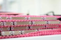 Muitos conectores D-secundários Os painéis com um número de conectores são empilhados imagem de stock royalty free