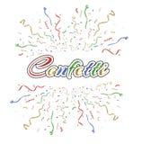 Muitos confetes minúsculos coloridos de queda e fita no fundo transparente Evento e partido da celebração multicolored ilustração royalty free
