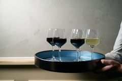 Muitos copos de vinho do vinho diferente em uma bandeja nas mãos do ` s do garçom Fotografia de Stock Royalty Free