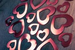 Muitos corações de brilho Fotografia de Stock