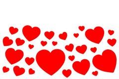 Muitos corações de papel vermelhos no formulário do quadro decorativo no fundo branco com espaço da cópia Símbolo do dia do amor  fotos de stock royalty free