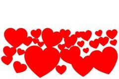 Muitos corações de papel vermelhos no formulário do quadro decorativo no fundo branco com espaço da cópia Símbolo do dia do amor  imagens de stock royalty free