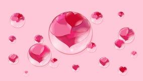 Muitos corações vermelhos dentro das bolhas em uma bolha de sabão cor-de-rosa do fundo Foto de Stock
