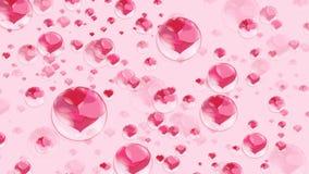 Muitos corações vermelhos dentro das bolhas em uma bolha de sabão cor-de-rosa do fundo Imagem de Stock