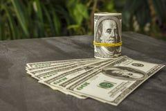 Muitos dólares na tabela Imagem de Stock