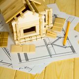 Muitos desenhos para a construção, os lápis e o pequeno Foto de Stock Royalty Free