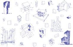 Muitos esboços arquitetónicos de uma arquitetura abstrata moderna e de uns objetos geométricos Fotografia de Stock Royalty Free