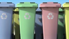 Muitos escaninhos de lixo m?veis para classificar o desperd?cio dom?stico Anima??o de Loopable 3D ilustração stock