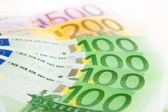 Muitos euro na pilha fotografia de stock
