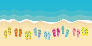 Muitos falhanços de aleta coloridos no projeto das férias de verão da praia ilustração royalty free