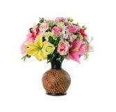 Muitos florescem e potenciômetros de flor Imagens de Stock