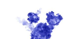 Muitos fluxos da tinta azul isolada injetam A cor azul ondula na água, tiro no movimento lento Uso para o fundo manchado de tinta ilustração do vetor