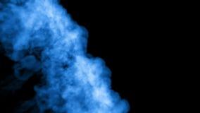 Muitos fluxos da tinta azul ou do fumo fluorescente, isolados no preto no movimento lento Água azul Uso para o fundo da tinta ilustração royalty free