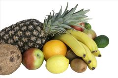 Muitos frutos maduros isolados em um fundo branco foto de stock