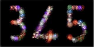 Muitos grupos de fogos-de-artifício de explosão deram forma como números Foto de Stock Royalty Free
