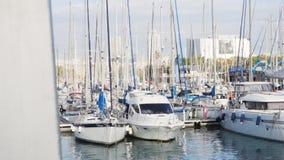 Muitos iate no porto estoque O porto do veleiro, muito vela amarrada bonita yachts no porto marítimo, água moderna video estoque