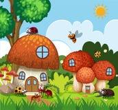 Muitos insetos que voam em torno da casa do cogumelo no jardim ilustração do vetor
