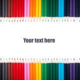 Muitos lápis coloridos em seguido agradavelmente Imagens de Stock Royalty Free