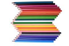 Muitos lápis coloridos isolados no fundo branco, lugar para o texto Foto de Stock Royalty Free