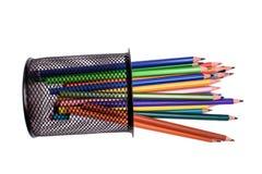 Muitos lápis coloridos isolados no fundo branco, lugar para o texto Fotografia de Stock