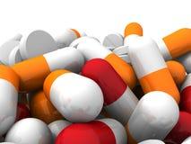 Muitos medicamentação e comprimidos coloridos Fundo do conceito Fotografia de Stock