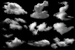 Muitos nublam-se isolado no fundo preto Foto de Stock Royalty Free