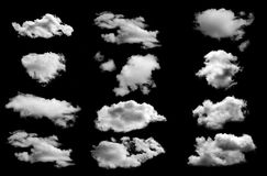 Muitos nublam-se isolado no fundo preto Imagem de Stock Royalty Free