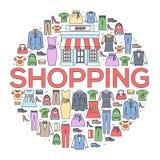 Muitos objetam comprado na loja Conceito do fundo do sumário do círculo da compra Em linhas finas lisas ícones do estilo do esboç Imagem de Stock