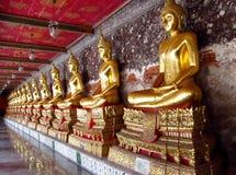Muitos ouro-coloriram a estátua da Buda no templo budista Imagens de Stock