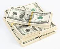 Muitos pacote de E.U. 100 dólares de notas de banco Fotos de Stock Royalty Free
