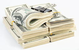 Muitos pacote de E.U. 100 dólares de notas de banco Foto de Stock Royalty Free