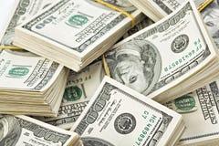 Muitos pacote de E.U. 100 dólares de notas de banco Fotografia de Stock