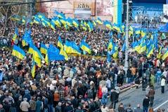 Muitos povos na rua com flags6 Fotografia de Stock