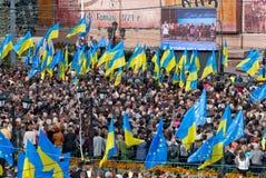 Muitos povos na rua com flags8 Fotografia de Stock