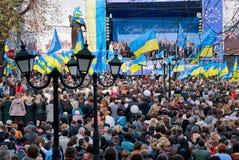 Muitos povos na rua com flags9 Foto de Stock Royalty Free