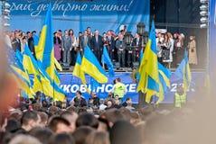 Muitos povos na rua com flags10 Imagens de Stock