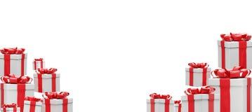 Muitos presentes brancos vermelhos com fita 3d-illustration ilustração royalty free