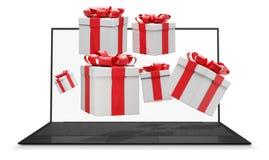 Muitos presentes com a fita que voa fora de um tela de computador 3d-illustration ilustração stock