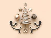 Muitos rendição de creme macia mínima do fundo 3d do conceito do Natal do objeto ilustração royalty free