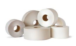 Muitos rolos brancos do papel higiênico imagem de stock