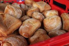 Muitos rolos de pão fresco foto de stock