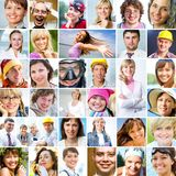 Muitos rostos humanos diferentes Fotografia de Stock Royalty Free