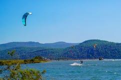 Muitos surfistas que apreciam o papagaio que surfa na praia imagens de stock royalty free