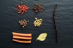 Muitos tipos das especiarias em uma pedra Foto de Stock Royalty Free
