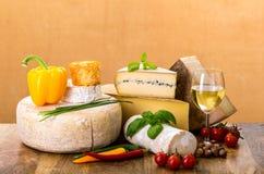 Muitos tipos de queijo francês Imagens de Stock Royalty Free