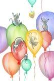 Muizen die op ballons vliegen Stock Fotografie