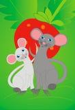 Muizen en aardbei stock afbeelding