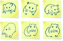 Muizen en hamsters op post-itnota's Stock Afbeelding