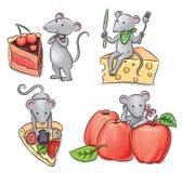 Muizen en voedsel Stock Afbeeldingen