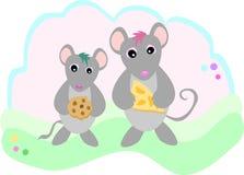 Muizen met Snacks Stock Afbeeldingen